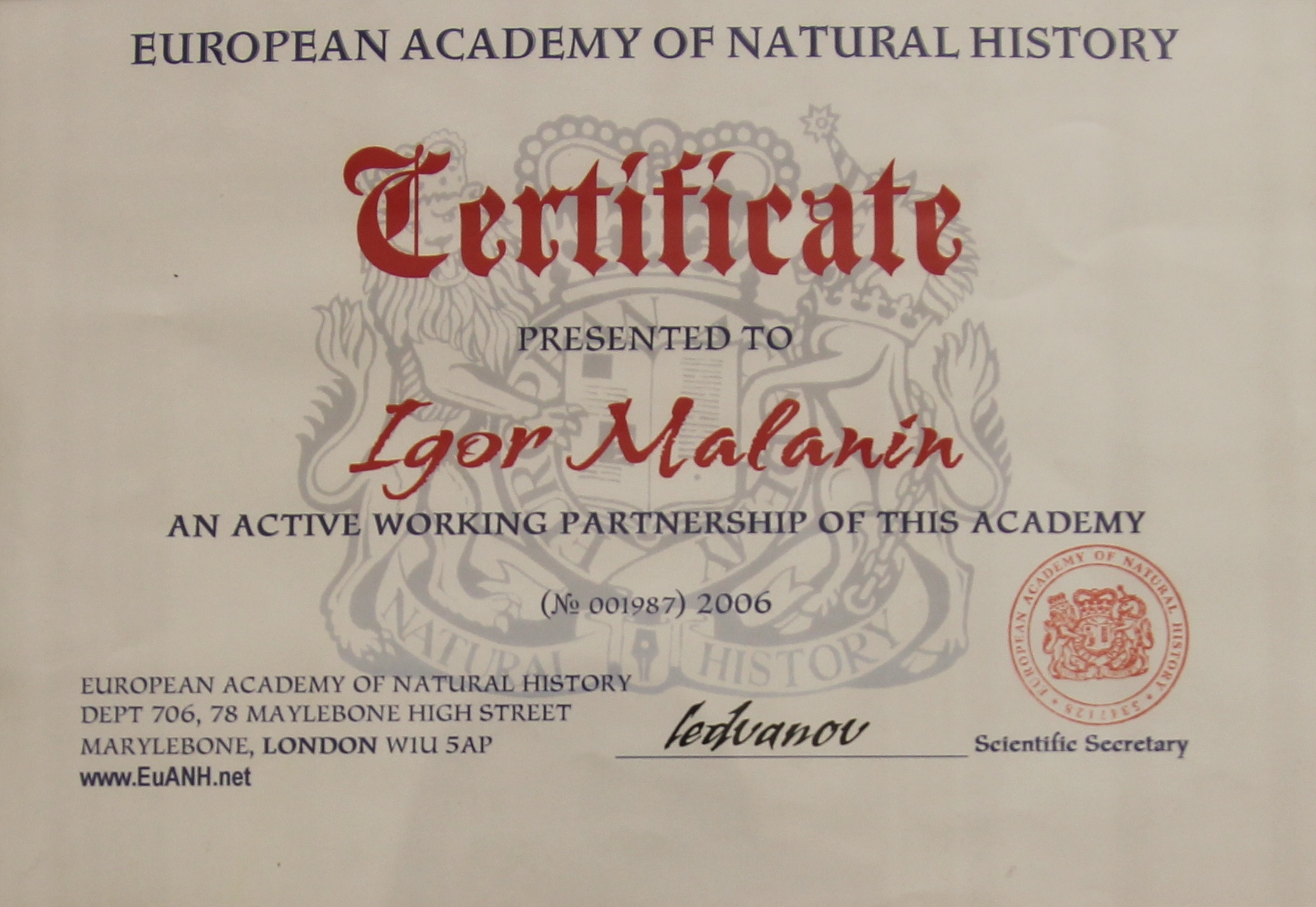 Active working partnership of the European Academy of Natural History